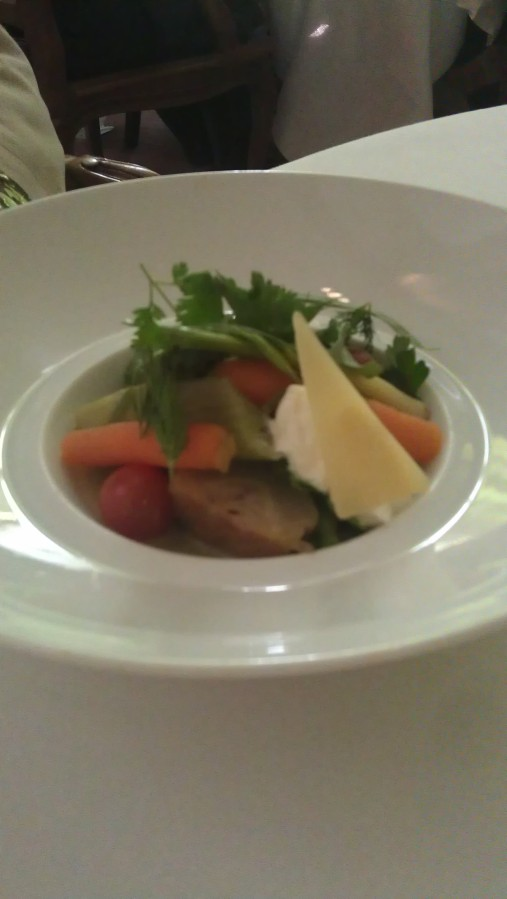 spring vegetables with mascarpone and parmesan